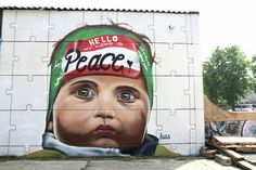 """My name is Peace"" by Kas Art Reflections of the will from children of Palestine and Israel. Brussels, Belgium 2016"