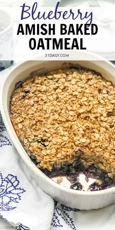 Blueberry Amish Baked Oatmeal is a cozy, hearty breakfast that's healthy and oh-so-satisfyingly delicious. Crispy oats warmed with cinnamon and sweetened with blueberries. It's a easy and simple breakfast and healthy snack to love. Blueberry Amish Baked O Breakfast Dishes, Breakfast Recipes, Healthy Hearty Breakfast, Amish Baked Oatmeal, Baked Oatmeal Recipes, Baked Blueberry Oatmeal, Baked Oats, Good Healthy Recipes, Healthy Food