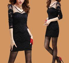 Gauze Stitching Lace Sexy Dress-Black
