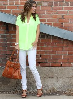 Toning down neon yellow with neutrals    http://marionberrystyle.blogspot.com/