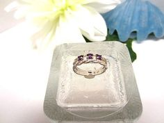 Ring Sterling Silver Three Faceted Amethyst by SparklePlentyToo, $24.99