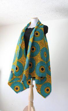 Sleeveless African Print Kimono African Kimono Kimono With Circles Ankara Poncho African Cardigan Ankara Jacket African Duster Jacket African Fashion Ankara, Latest African Fashion Dresses, African Print Dresses, African Print Fashion, African Wear, African Attire, African Dress, Africa Fashion, Mode Kimono