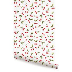 August Grove Crichton Cherries Bunch Paintable Peel and Stick Wallpaper Roll Size: L x W Wallpaper Panels, Fabric Wallpaper, Wallpaper Roll, Peel And Stick Wallpaper, Wallpaper Size, Wallpaper Calculator, Traditional Wallpaper, Simple Shapes, Designer Wallpaper
