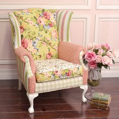 Sweet Large #Patchwork Wing #Chair in Green Gingham and #Pink #Floral $895.00 #thebellacottage