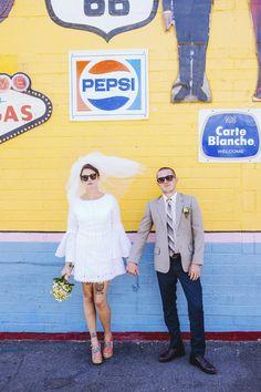 couples style, Vegas elopement - bride wears short wedding dress