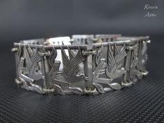 Vintage Sterling Silver Dove Bird Panel Link Repousse Bracelet #Unbranded