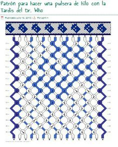 pattern to make a string bracelet of Dr. Who tardis