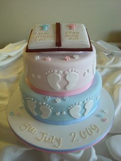Two tier bible christening cake