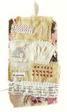 Fabric collage (via Textile art hand stitched Eleven by ColetteCopeland on Etsy) Textile Fiber Art, Textile Artists, Fibre Art, Textiles, Art Journaling, Embroidery Stitches, Hand Embroidery, Art Du Fil, Fibre And Fabric