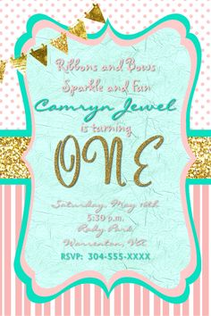 Full house birthday invitation in 4x6 if you wish to order this or ribbons bows sparkle and fun first birthday invitation in 4x6 contact me at filmwisefo