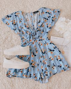 May 2020 - Casual and cute is just what you'll get with the Lulus She's So Sweet Light Blue Floral Print Tie-Front Cutout Romper! This romper is spring-ready, lightweight, and perfect for your next weekend outfit! Teenage Outfits, Cute Casual Outfits, Teen Fashion Outfits, Cute Summer Outfits, Outfits For Teens, Pretty Outfits, Stylish Outfits, Spring Outfits, Autumn Outfits