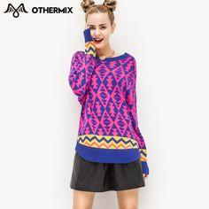 Othermix 2016 nova mulheres outono camisola Pullovers grosso geometria O pescoço longo Batwing manga solta moda feminina camisola em Pulôvers de Roupas e Acessórios no AliExpress.com | Alibaba Group