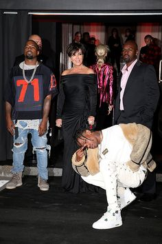 Kanye West, Kris Jenner, Travis Scott and Corey Gamble arrive at Vogue 95th Anniversary Party as part of the Paris Fashion Week Womenswear Spring/Summer 2016 on October 3, 2015 in Paris, France. (Photo by Pierre Suu/Getty Images)