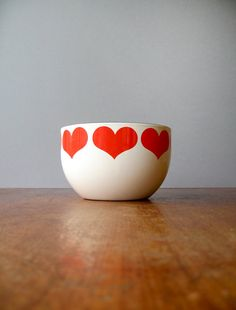 Small Mid Century Arabia Finland Finel Enamel Heart Bowl