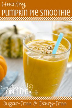 Learn how to make this delicious, healthy, sugar-free & dairy-free Pumpkin Pie Smoothie! Dairy Free Pumpkin Pie, Healthy Pumpkin Pies, Pumpkin Pie Recipes, Fruit Smoothies, Healthy Smoothies, Smoothie Recipes, Vitamix Recipes, Healthy Breakfasts, Drink Recipes