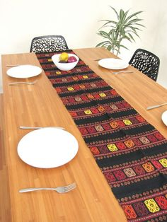 Attractive Table Runner | Mexican Style | Hand Woven | Black