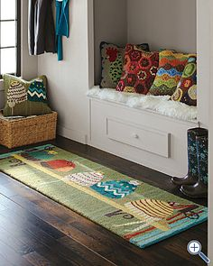 Winter Hats Hooked Wool Rug by Garnet Hill. Great winter decor!
