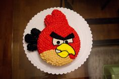 Angry birds cake! red bird made from 9 inch round cake