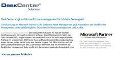 Pressemeldung: DeskCenter Solutions AG wird Microsoft Goldpartner Software Asset Management