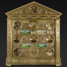 """Faberge frame presented as a 25th wedding anniversary gift by Grand Duke Konstantin Konstantinovich Romanov of Russia to his wife Grand Duchess Elizaveta Mavrikievna Romanova of Russia in 1909. The frame contains photographs of their children and the palaces that they have lived in. """"AL"""""""