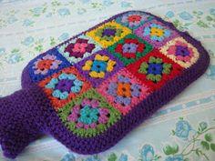 Crochet hot water bottle cover--no pattern but looks hackable