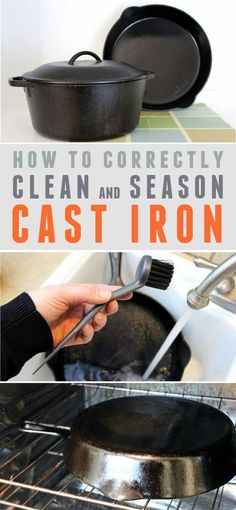 How to Correctly Clean and Season Cast Iron -- Learn the benefits of cooking with cast iron, how to season it, and how to correctly clean it so it lasts for generations!