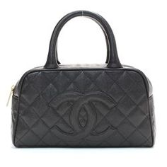 Black Quilted Caviar Leather Small Bowler Handbag