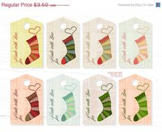 50% OFF Christmas In July Made with Love Printable Gift Tags, knitted socks image, hearts, Christmas stocking hang tag, DIY ,  PNG Pdf file, - pinned by pin4etsy.com