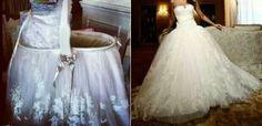 Repurposed wedding dress. Such a great idea.