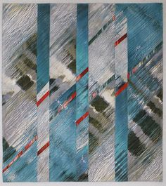 """Water on the Bias, 36 x 40"""", art quilt by Charlotte Ziebarth"""