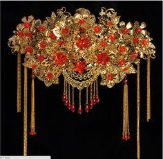 Gold-Luxury-Wedding-Headband-Bridal-Crown-Chinese-Style-Tiaras-Red-Rhinestones