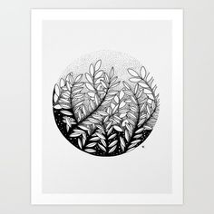 Leaves Art Print by wildbloomart Des Fleurs Pour Algernon, Tatto Floral, Stylo Art, Stippling Art, Illustration Art, Illustrations, Drawing Flowers, Painting Flowers, Ink Pen Drawings