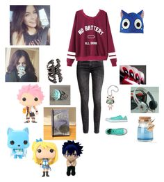 """""""Random Fairy Tail merch hahahahaha"""" by haileyscomet95 ❤ liked on Polyvore featuring Brinley Co, GE, H&M and Converse"""