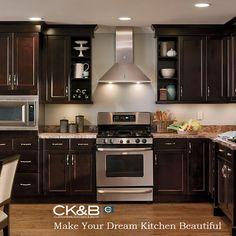 dark cherry kitchen cabinets with dark wood kitchen Kitchen Craft Cabinets, Dark Wood Kitchen Cabinets, Espresso Cabinets, Dark Wood Kitchens, Brown Kitchens, Kitchen Cabinet Design, Home Kitchens, Kitchen Designs, Kitchen Ideas