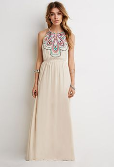 Embroidered Halter Maxi Dress | Forever 21 | #thelatest #lyoness