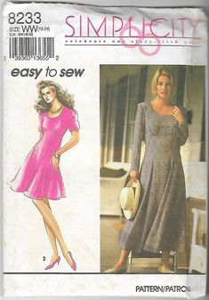 Easy to Sew Simplicity 8233 Women Dresses Sewing Pattern Sizes Misses – SewJewel
