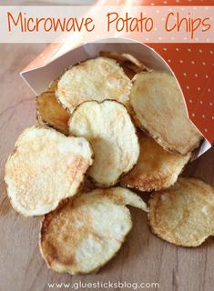 Microwave potato chipsare one of my kids favorite after school snacks. They are easy to make and are made from natural ingredients. Potatoes, sea salt, and olive oil.