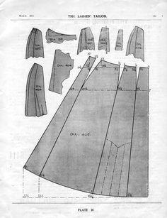 Free Edwardian Skirt Sewing Draft Pattern from 1911