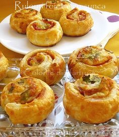Rolls of pastry with ham