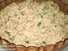 Creamy Chicken Filling - Fauzia's Kitchen Fun Veggie Recipes, Indian Food Recipes, Chicken Recipes, Cooking Recipes, Healthy Recipes, Ethnic Recipes, Chicken Sandwich Filling, Veggie Korma, Ramzan Recipe
