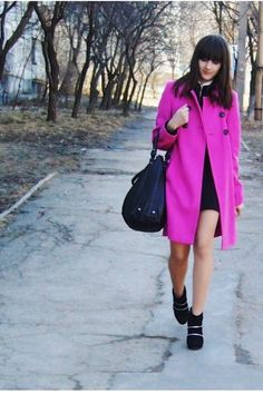 A La Redoute pink coat to help go through the cold winters of Moldova - Vlada's world