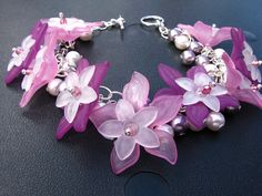 Purples and Pinks Acrylic Flower Charm Bracelet by beadoirdesign, $32.95