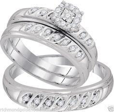 White Gold His Her Men Woman Diamond Pave Wedding Ring Bands Trio Set (0.30ct. tw)- RG331124892260