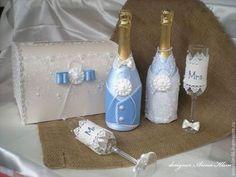 Свадебные аксессуары ручной работы. Ярмарка Мастеров - ручная работа. Купить Костюмы на свадебное шампанское в голубом. Handmade. Голубой