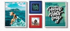 Inspire! Colorfully framed photos and inspirational sayings make for a fun, fresh gallery.