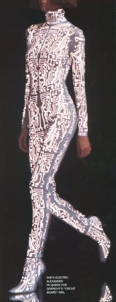 Futuristic ''circuit-board-girl' Gisele Bündchen on the runway for Alexander McQueen while he was at Givenchy , Paris , Autumn-Winter 1999-2000 . Givenchy Haute-Couture Ready-to-wear .