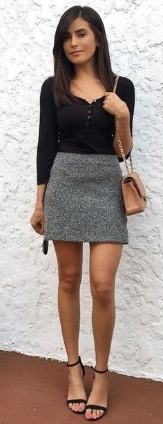 #summer #trends #outfits |  Black Top + Grey Skirt