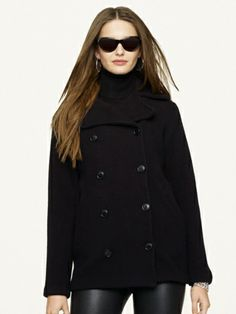 Wool Pea Coat - This essential pea coat is made from an ultra-soft wool blend and tailored in a sleek double-breasted silhouette. From the Ralph Lauren Black Label Collection.