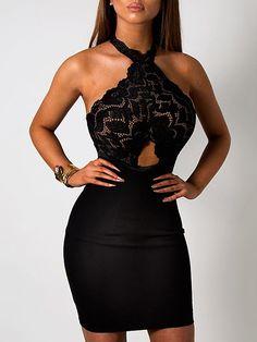 Black Splicing Lace Hollow Halter Neck Mini Dress