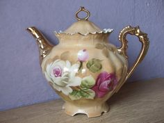 Antique Lefton China brown heritage teapot hand by ShoponSherman